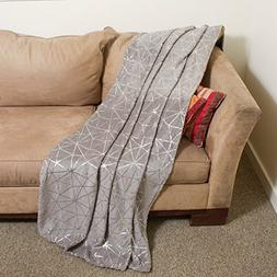 Imperial Home Throw Blanket – Fleece Blanket with Silver o