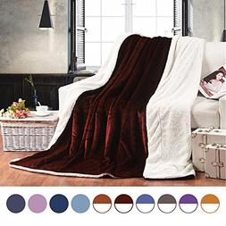 Euyzou Throw Blanket Micro Fleece Plush Sherpa Fur Soft Comf