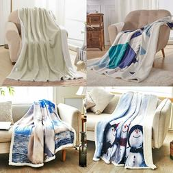 Subrtex Sherpa Flannel Fleece Reversible Blanket Extra Soft