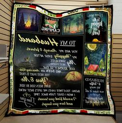 To My Husband Camping I Love You Quilt Blanket, Fleece Blank