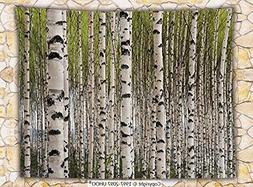 Tree Fleece Throw Blanket Nature Theme Design Birch Trees wi