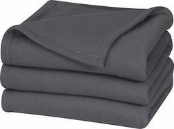 Twin Polar-Fleece Thermal Blanket Grey - Extra Soft Brush Fa