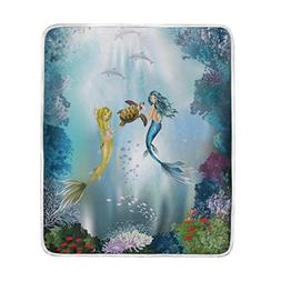 U LIFE Blue Ocean Sea Mermaid Soft Fleece Throw Blanket Blan