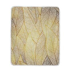 U LIFE Elegant Gold Leaves Texture Soft Fleece Throw Blanket