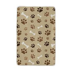 U LIFE Khaki Striped Dog Paw Prints Soft Fleece Throw Blanke