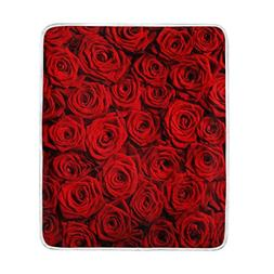 U LIFE Red Roses Soft Fleece Throw Blanket Blankets for Nap