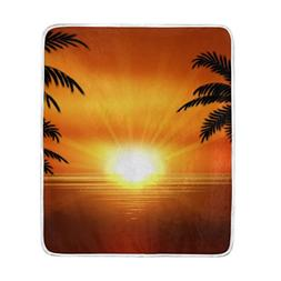 U LIFE Sunset Ocean Palm Trees Soft Fleece Throw Blanket Bla