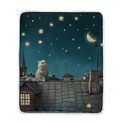 U LIFE Vintage Stars Moon White Cat Soft Fleece Throw Blanke