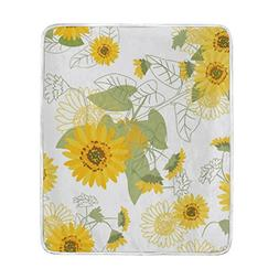 U LIFE Small Yellow Sunflowers Floral Soft Fleece Throw Blan