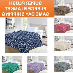 Ultra Super Soft Cube Design Fleece Plush Luxury BLANKET All