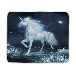 ALAZA Unicorn Running Through Crystal Plush Throws Siesta Ca