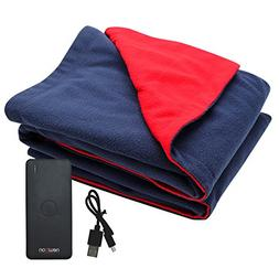 USB Heated Fleece Blanket With Phone Charger Power Bank To K