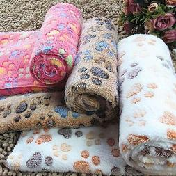 Warm Pet Mat Small Large Paw Print Cat Dog Puppy Fleece Soft