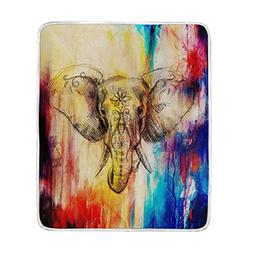 ALAZA Watercolor Rainbow Elephant Plush Throws Siesta Campin