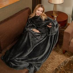 Wearable Fleece Blanket with Sleeves & Foot Pocket for Adult