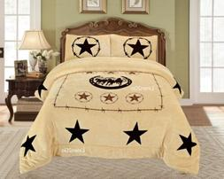 Western Barbwire Horse Shoe Star Blanket Borrego Fleece Comf