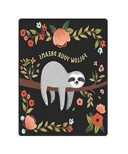 QH White Funny Sloth Print Throw Blanket Comfort Design Home