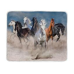 ALAZA Wildlife Horse Herd Desert Storm Plush Throws Siesta C