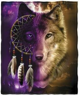 Dawhud Direct Wolf Dreamcatcher Fleece Throw Blanket
