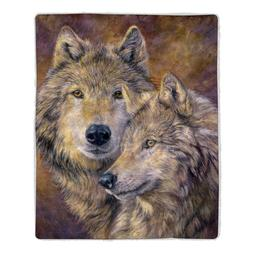 Lavish Home Wolf Print Sherpa Fleece Blanket