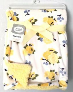 Luvable Friends Yellow Floral Baby Girls Blanket Minky Sherp